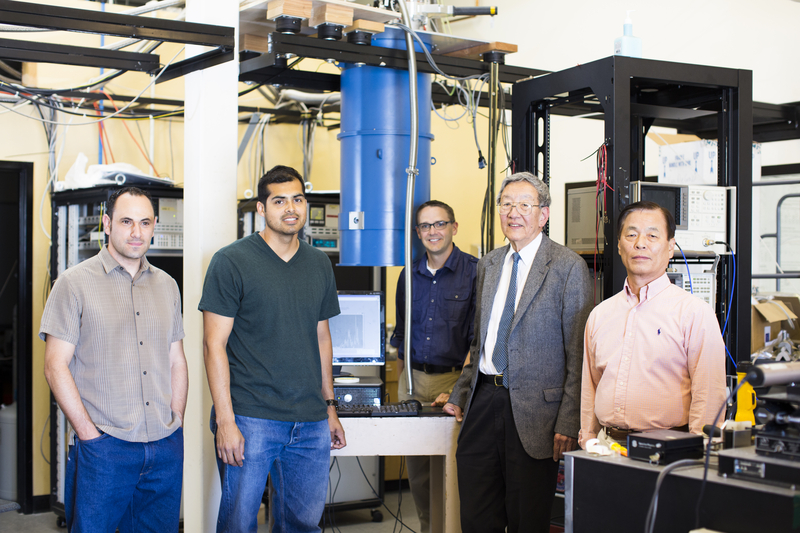 UC Merced graduate students and faculty in research lab
